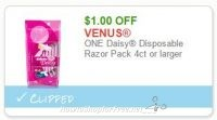 **NEW Printable Coupon** $1.00/1 Daisy Disposable Razor Pack 4ct or larger