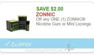 **NEW Printable Coupon** $2.00 off one Zonnic Nicotine Gum or Mini Lozenge