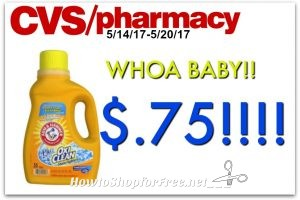 Wow Arm & Hammer Laundry Detergent only .75¢ at CVS(5/14/17-5/20/17)