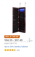 Up to 25% Jewelry Cabinets ~Today Only on Amazon!