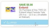 **NEW Printable Coupon** $5.00 off any 2 Enfamil