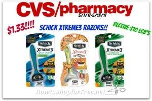 Hot Deal! Schick Disposable Razors $1.33 at CVS(5/7/17-5/13/17)