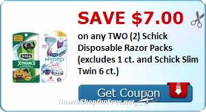 Save $7.00 on any TWO (2) Schick Disposable Razor Packs