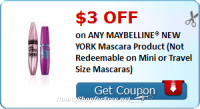 $3.00 OFF (1) ANY MAYBELLINE® NEW YORK Mascara Product