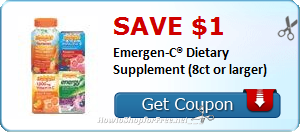 SAVE $1.00 Emergen-C® Dietary Supplement (8ct or larger)