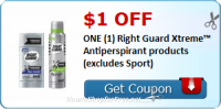 $1.00 OFF (1) Right Guard Xtreme™ Antiperspirant (excludes Sport)