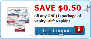 SAVE $0.50 off any ONE (1) package of Vanity Fair® Napkins