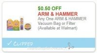**NEW Printable Coupon** .50/1 ARM & HAMMER Vacuum Bag or Filter