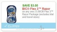 **NEW Printable Coupon** $3.00/1 BIC Flex 3™ Razor Package (excludes trial and travel sizes)