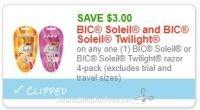 **NEW Printable Coupon** $3.00/1 BIC Soleil or BIC Soleil Twilight razor 4-pack