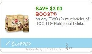 **NEW Printable Coupon** $3.00/2 multipacks of BOOST Nutritional Drinks