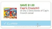 **NEW Printable Coupon** $1.00/2 Cap'n Crunch cereal