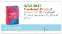 **NEW Printable Coupon** .50/1 Carefree Product