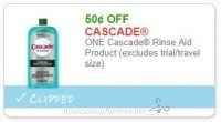 **NEW Printable Coupon** .50/1 Cascade Rinse Aid Product