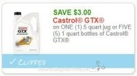 **NEW Printable Coupon** $3.00/1 (5) quart jug or FIVE (5) 1 quart bottles of Castrol GTX