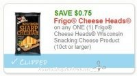 **NEW Printable Coupon** .75/1 Frigo Cheese Heads Wisconsin Snacking Cheese Product (10ct or larger)