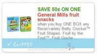**HOT**NEW Printable Coupon** .50/1 General Mills Fruit Snacks!