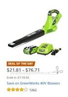 **Amazon Deal of the Day** Save on GreenWorks Blowers!
