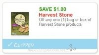 **NEW Printable Coupon** $1.00/1 bag or box of Harvest Stone products