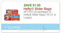 **NEW Printable Coupon** $1.00/2 Hefty Slider Bags (10 Ct. or Larger)