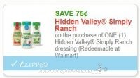 **NEW Printable Coupon** .75/1 Hidden Valley Simply Ranch dressing