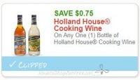**NEW Printable Coupon** .75/1 Holland House Cooking Wine