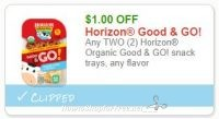 **NEW Printable Coupon** $1.00/2 Horizon Organic Good & GO! snack trays, any flavor
