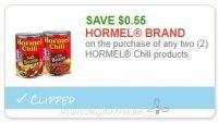 **NEW Printable Coupon** .55/2 (2) Hormel Chili products