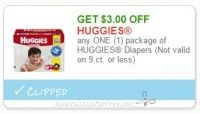 Save $3.00 any ONE (1) package of HUGGIES Diapers