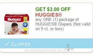 Save $3.00 any ONE (1) package of HUGGIES Diapers (Not valid on 9 ct. or less)