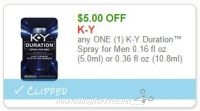 **NEW Printable Coupon** $5.00/1 K-Y Duration Spray for Men