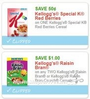**NEW Printable Coupons** 2 Kellogg's Cereal Coupons Pre-Clipped for You!