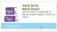 **NEW Printable Coupon** .50/1 Mardi Gras Napkins, 250ct or 700ct