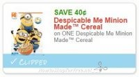 **NEW Printable Coupon** .40/1 Despicable Me Minion Made™ Cereal