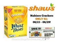 Nabisco Crackers ONLY 92¢ at Shaw's 06/23 ~ 06/29!