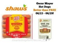 Oscar Mayer Hot Dogs Better than FREE at Shaw's 06/23 ~ 06/29!