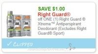 **NEW Printable Coupon** $1.00/1 Right Guard Xtreme Antiperspirant Deodorant