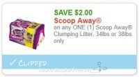 **NEW Printable Coupon** $2.00/1 Scoop Away Clumping Litter, 34lbs or 38lbs only