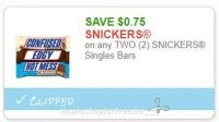 **HOT**NEW Printable Coupon** .75/2 SNICKERS Singles Bars!