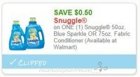 **NEW Printable Coupon** .50/1 Snuggle 50oz. Blue Sparkle OR 75oz. Fabric Conditioner