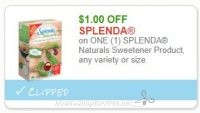 **NEW Printable Coupon** $1.00/1 SPLENDA Naturals Sweetener Product