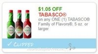 **NEW Printable Coupon** $1.05/1 TABASCO Family of Flavors, 5 oz. or larger