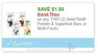 **NEW Printable Coupon** $1.50/2 thinkThin Protein & Superfruit Bars or Multi-Packs
