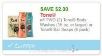 **NEW Printable Coupon** $2.00/2 Tone Body Washes  or Tone Bar Soaps