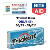 Trident Gum ONLY 47¢ at Rite Aid 06/25 ~ 07/01!