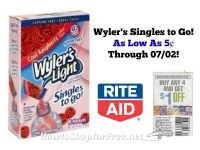 Wyler's Singles to Go As Low As 5¢ at Rite Aid Through 07/02!
