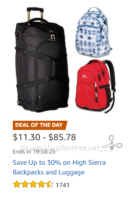 Up to 30% OFF High Sierra Backpacks & Luggage ~Deal of the Day