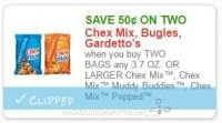 **NEW Printable Coupon** .50/2  3.7 OZ. OR LARGER Chex Mix™, Chex Mix™ Muddy Buddies™, Chex Mix™ Popped™