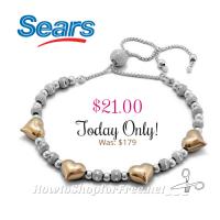 Two Toned Shimmer Heart Bracelet 88% OFF!!