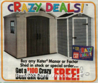 Get a $100 GC wyb Keter Manor or Factor Shed at OSJL! (6/29-7/5)
